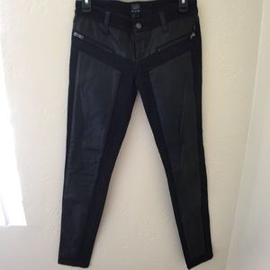 Black and Faux Leather front Panel denim jeans